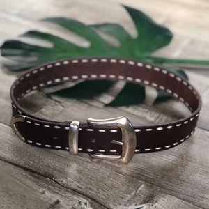 Merona Brown Saddle Leather Stitched Belt